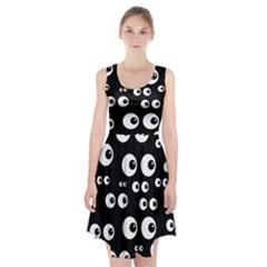 Seamless Eyes Tile Pattern Racerback Midi Dress