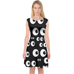 Seamless Eyes Tile Pattern Capsleeve Midi Dress