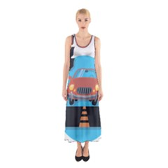 Semaphore Car Road City Traffic Sleeveless Maxi Dress
