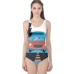 Semaphore Car Road City Traffic One Piece Swimsuit