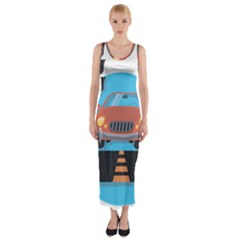 Semaphore Car Road City Traffic Fitted Maxi Dress