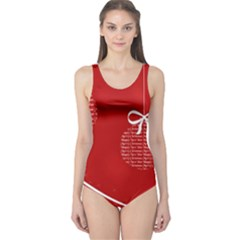 Simple Merry Christmas One Piece Swimsuit