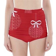 Simple Merry Christmas High-Waisted Bikini Bottoms
