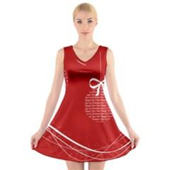 Simple Merry Christmas V-Neck Sleeveless Skater Dress