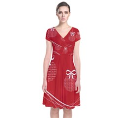 Simple Merry Christmas Short Sleeve Front Wrap Dress