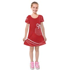 Simple Merry Christmas Kids  Short Sleeve Velvet Dress