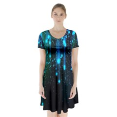 Abstract Stars Falling Wallpapers Hd Short Sleeve V Neck Flare Dress
