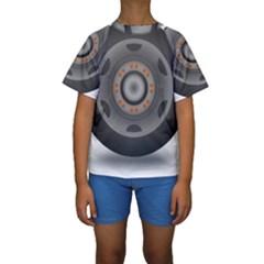 Tire Tyre Car Transport Wheel Kids  Short Sleeve Swimwear