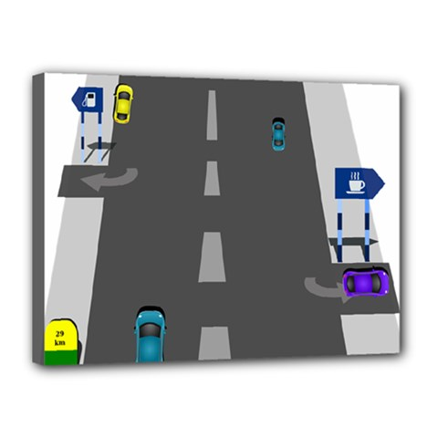 Traffic Road Driving Cars Highway Canvas 16  x 12