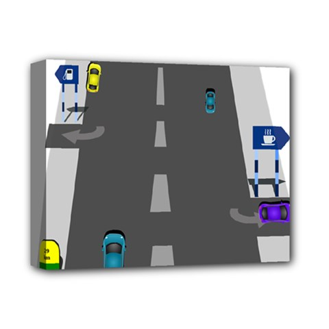 Traffic Road Driving Cars Highway Deluxe Canvas 14  x 11