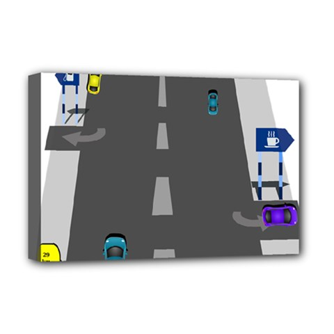 Traffic Road Driving Cars Highway Deluxe Canvas 18  x 12