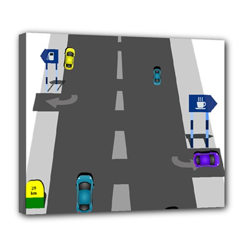 Traffic Road Driving Cars Highway Deluxe Canvas 24  x 20