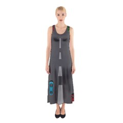 Traffic Road Driving Cars Highway Sleeveless Maxi Dress