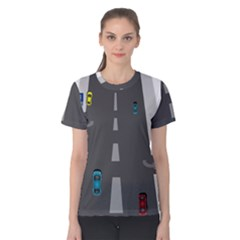 Traffic Road Driving Cars Highway Women s Cotton Tee