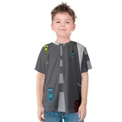 Traffic Road Driving Cars Highway Kids  Cotton Tee
