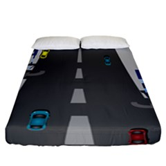 Traffic Road Driving Cars Highway Fitted Sheet (California King Size)