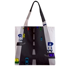 Traffic Road Driving Cars Highway Zipper Grocery Tote Bag