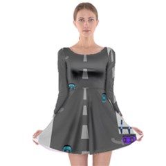 Traffic Road Driving Cars Highway Long Sleeve Skater Dress