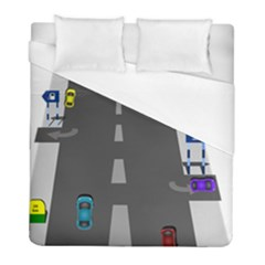 Traffic Road Driving Cars Highway Duvet Cover (Full/ Double Size)
