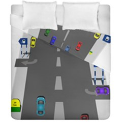 Traffic Road Driving Cars Highway Duvet Cover Double Side (California King Size)