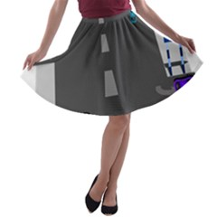 Traffic Road Driving Cars Highway A-line Skater Skirt