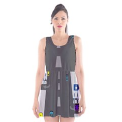 Traffic Road Driving Cars Highway Scoop Neck Skater Dress