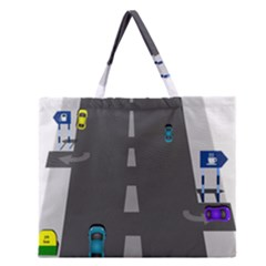 Traffic Road Driving Cars Highway Zipper Large Tote Bag