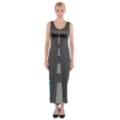 Traffic Road Driving Cars Highway Fitted Maxi Dress