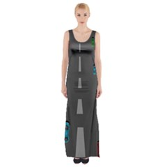 Traffic Road Driving Cars Highway Maxi Thigh Split Dress