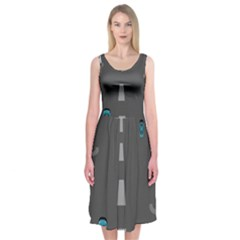 Traffic Road Driving Cars Highway Midi Sleeveless Dress