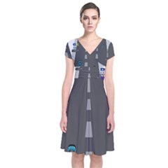 Traffic Road Driving Cars Highway Short Sleeve Front Wrap Dress