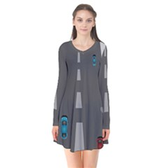Traffic Road Driving Cars Highway Flare Dress