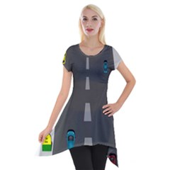 Traffic Road Driving Cars Highway Short Sleeve Side Drop Tunic