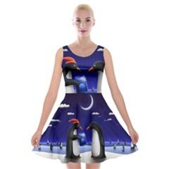 Small Gift For Xmas Christmas Velvet Skater Dress