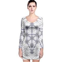 Tree Of Life Flower Of Life Stage Long Sleeve Bodycon Dress