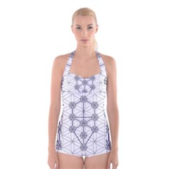 Tree Of Life Flower Of Life Stage Boyleg Halter Swimsuit
