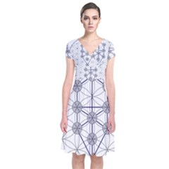 Tree Of Life Flower Of Life Stage Short Sleeve Front Wrap Dress