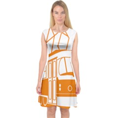 Tramway Transportation Electric Capsleeve Midi Dress