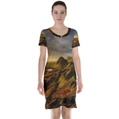 Scotland Landscape Scenic Mountains Short Sleeve Nightdress