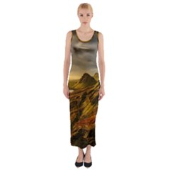 Scotland Landscape Scenic Mountains Fitted Maxi Dress