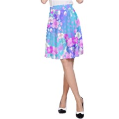 colorful pastel  flowers A-Line Skirt