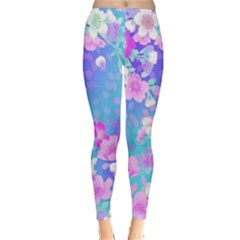 colorful pastel  flowers Classic Winter Leggings