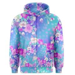 colorful pastel  flowers Men s Zipper Hoodie