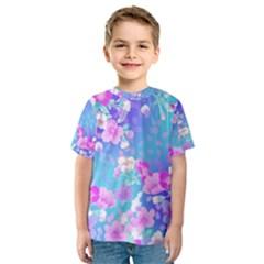 colorful pastel  flowers Kids  Sport Mesh Tee
