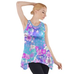 colorful pastel  flowers Side Drop Tank Tunic