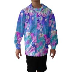 colorful pastel  flowers Hooded Wind Breaker (Kids)