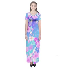 colorful pastel  flowers Short Sleeve Maxi Dress