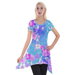 Colorful Pastel  Flowers Short Sleeve Side Drop Tunic