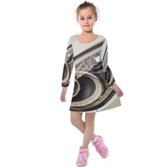 Spotlight Light Auto Kids  Long Sleeve Velvet Dress