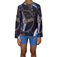 Steering Wheel Ferrari Blue Car Kids  Long Sleeve Swimwear